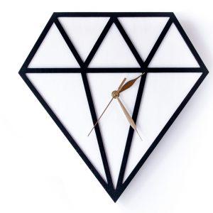 Zegar drewniany diament