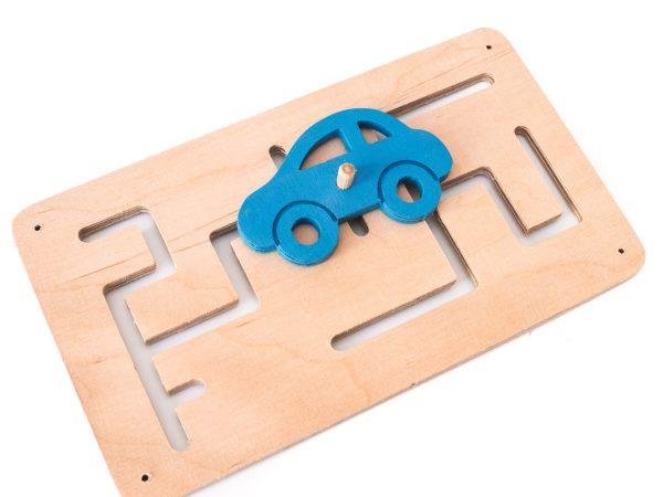 Tablica manipulacyjna / sensoryczna - Labirynt + autko niebieskie