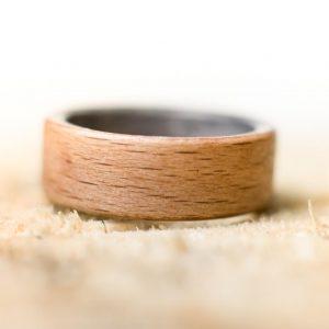 Obrączka pierścionek z drewna Buk & Dąb szary
