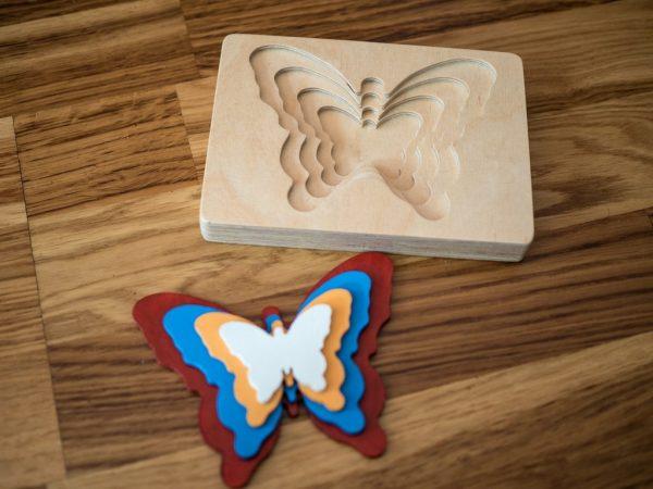 Puzzle 3D zabawka z drewna 9m+ motyl