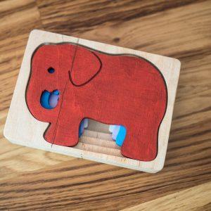 Puzzle 3D zabawka z drewna 9m+ słoń