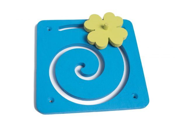 Tablica manipulacyjna / sensoryczna - Spirala z koniczyną niebieska