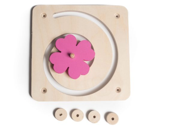 Tablica manipulacyjna / sensoryczna - Spirala z koniczyną różowa
